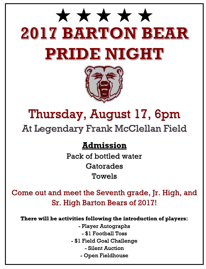 Barton Bear Pride Night